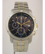 Seiko mens watches chronograph stainless steel case bracelet blue dial S... - $146.52