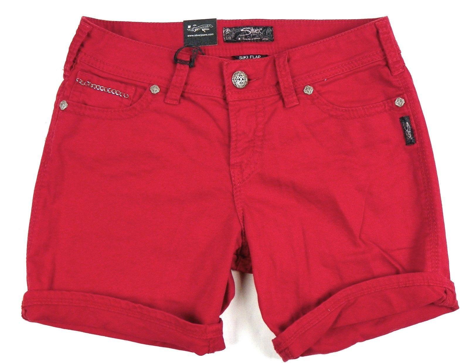 Silver Jeans Co. Shorts Junior Women's SUKI Flap Denim Short Mid-rise Curvy Red