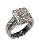 Women's Two Piece Halo CZ Wedding Ring Set Stai... - $22.99