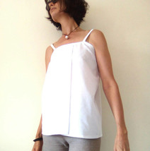 White Shift Top, Maternity Top, Modern Zen, Loose Fitting Top, Spaghetti... - $39.00
