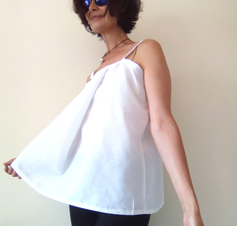 White Shift Top, Maternity Top, Modern Zen, Loose Fitting Top, Spaghetti Strap T image 2