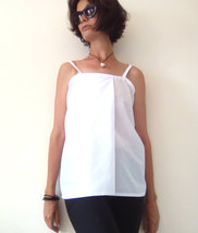 White Shift Top, Maternity Top, Modern Zen, Loose Fitting Top, Spaghetti Strap T image 3
