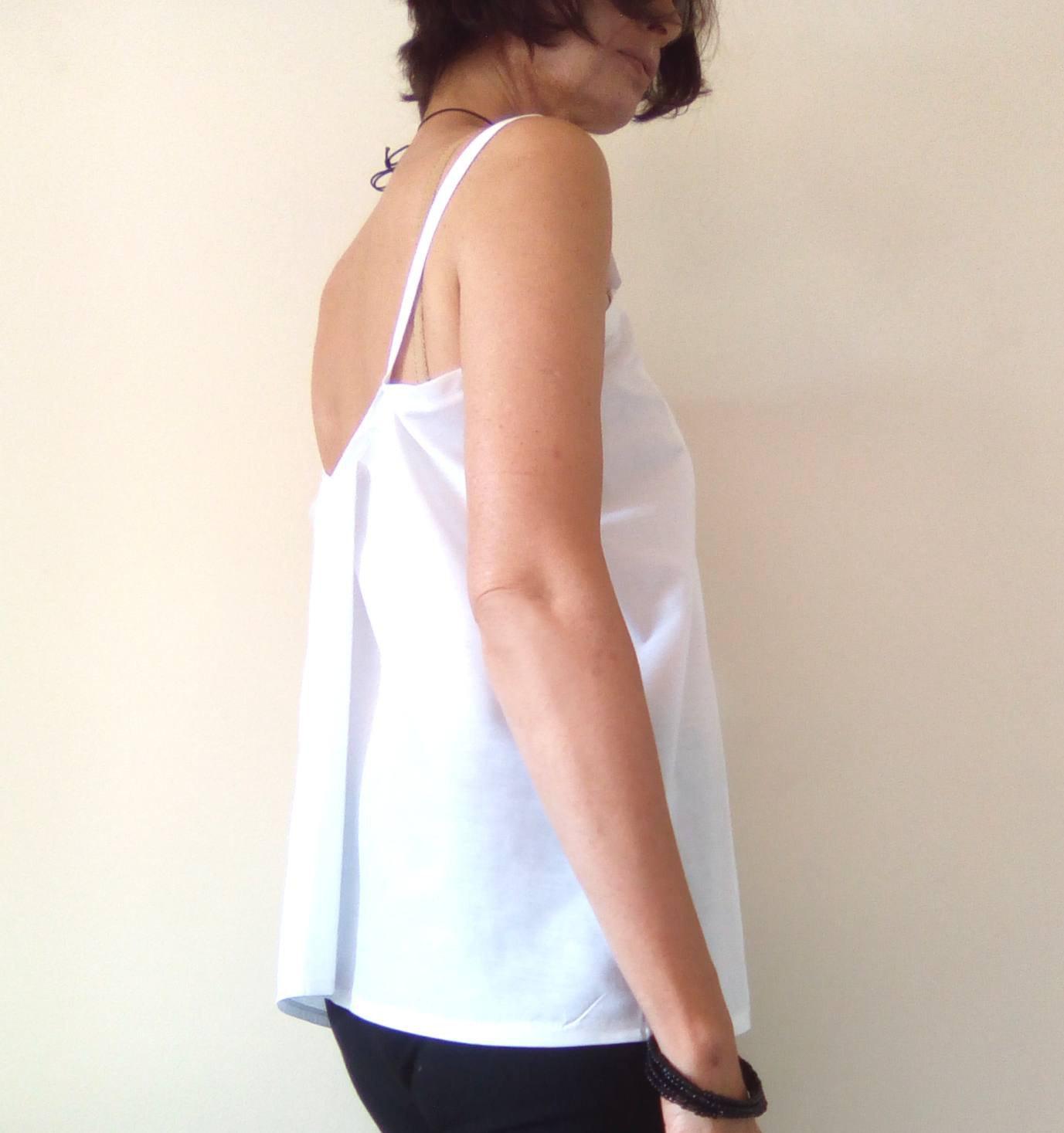 White Shift Top, Maternity Top, Modern Zen, Loose Fitting Top, Spaghetti Strap T image 4