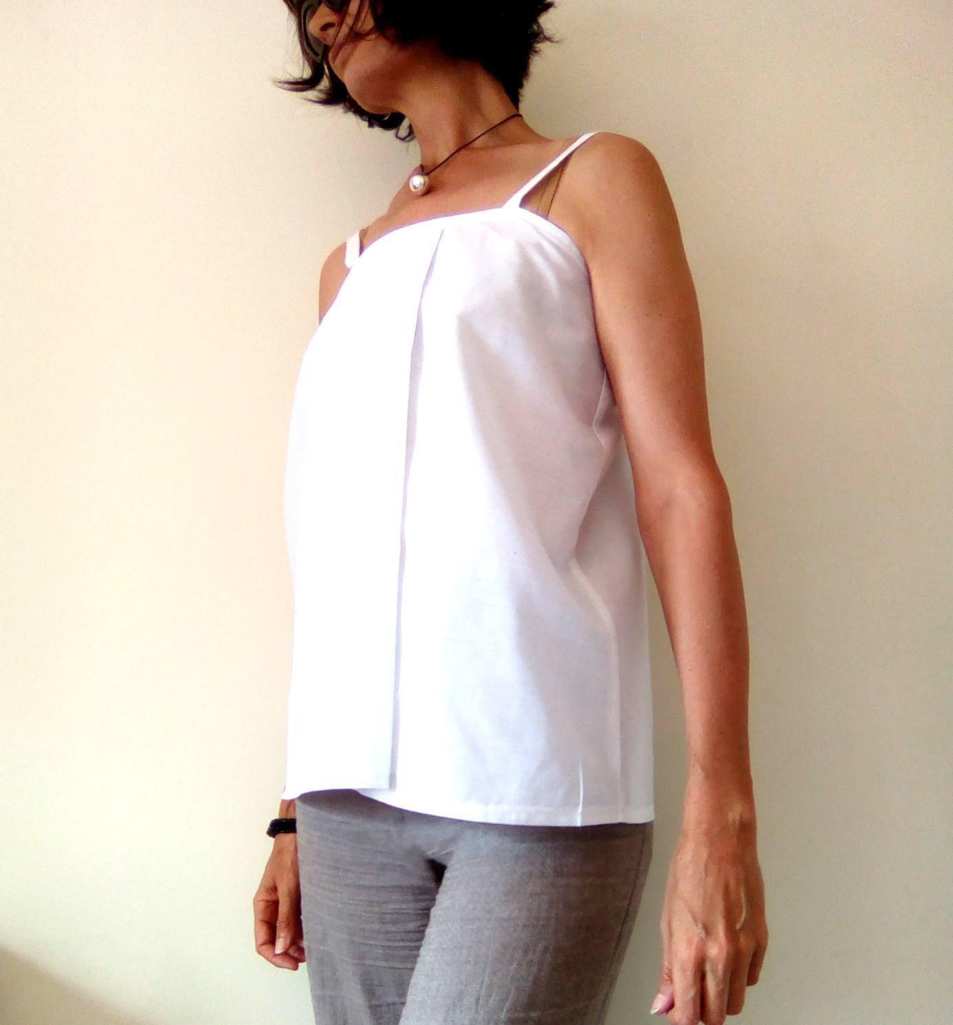 White Shift Top, Maternity Top, Modern Zen, Loose Fitting Top, Spaghetti Strap T image 5