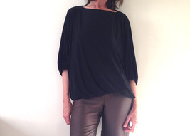 Plus size Top, Plus size Tunic, Plus size Black Top, Loose fitting Tunic, Gift f - $69.00