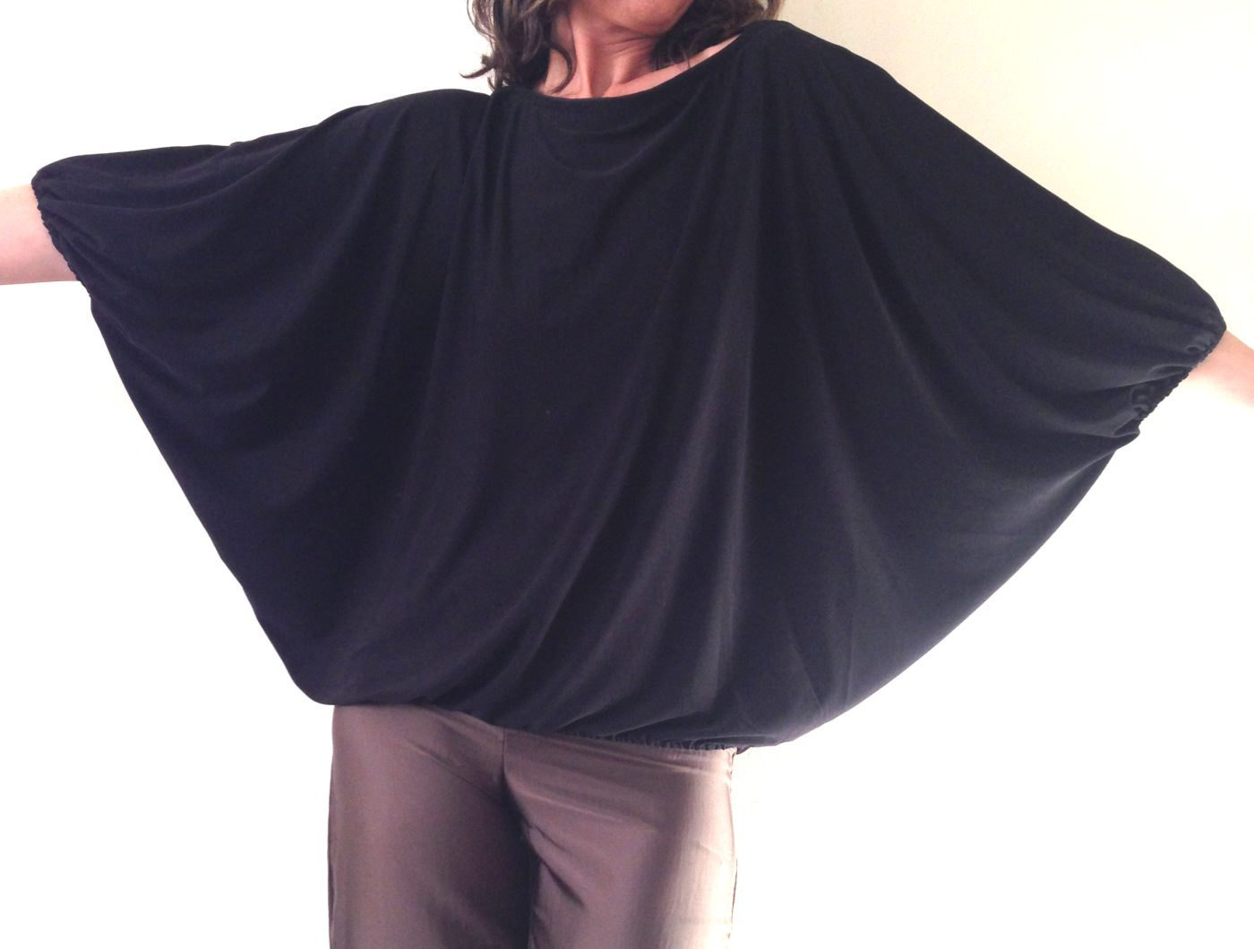 Plus size Top, Plus size Tunic, Plus size Black Top, Loose fitting Tunic, Gift f