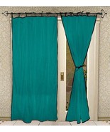 Tie Top Cotton Border Piping Turquoise Window C... - $17.74