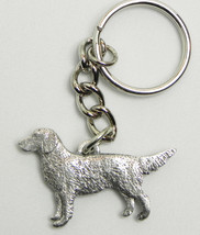 Golden Retriever Dog Keychain Keyring Harris Pewter Made USA Key Chain Ring - $9.48