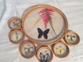 Vintage Bamboo & glass real Pressed butterflies serving tray - 6 coasters. - $21.14