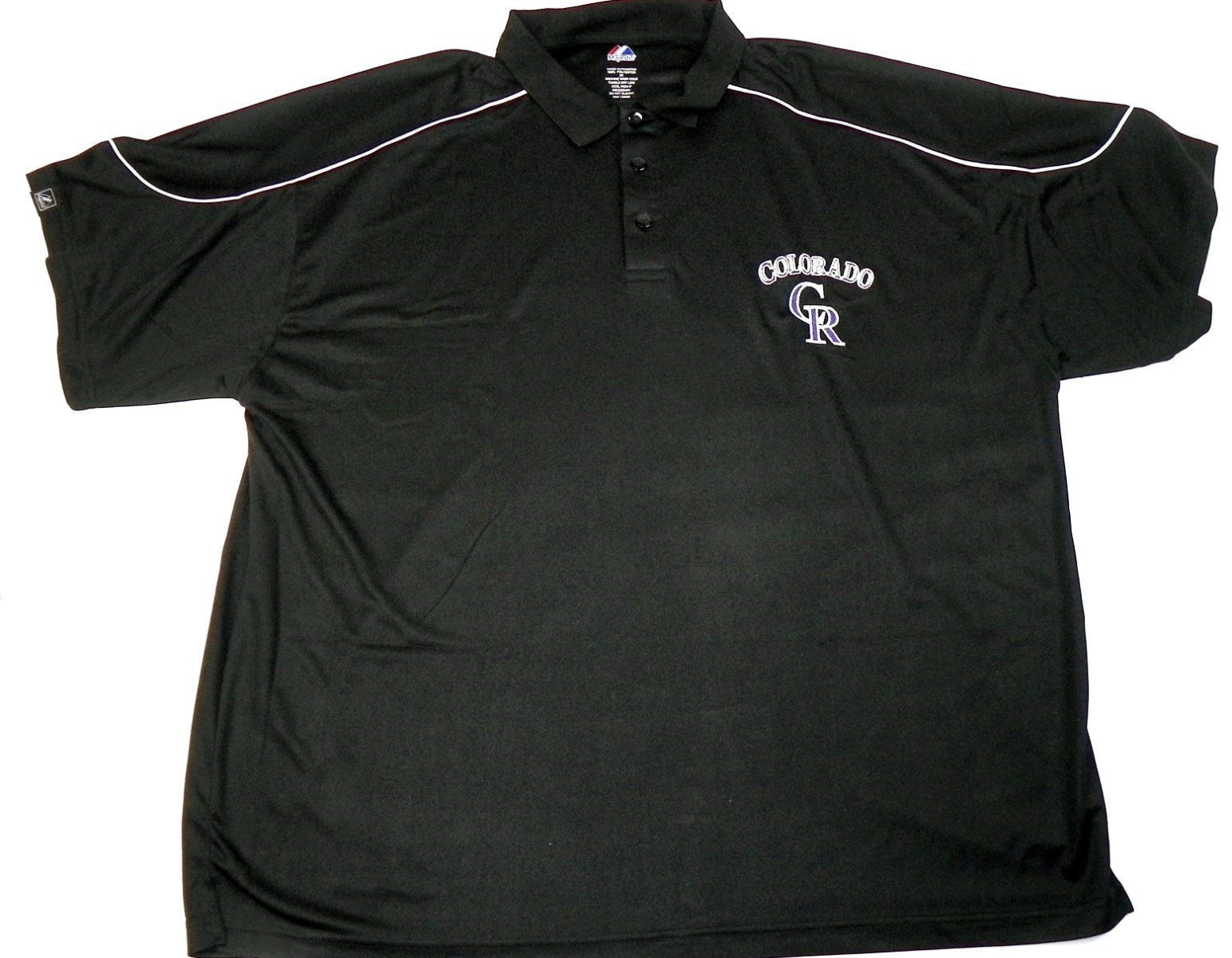 Colorado Rockies Polo Men's MLB Rundown Baseball Shirt Big Majestic
