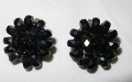 Vintage c1940 Black Lucite Cluster Button Earrings Signed W Germany Hand... - $12.66