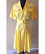 Vintage Midcentury Yellow Housewife Belted Snap Front Shirt Dress size S... - $39.95