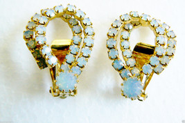 VTG Gold tone metal Milky Borealis Crystal Rhinestones Clip Earrings - $30.89