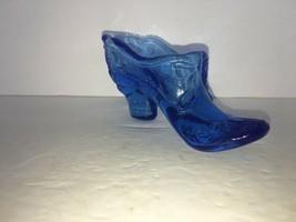 Victorian Mosser Glass Co Blue Fairy Tail Slipper Shoe w/ Bow & Scrolls - $7.50