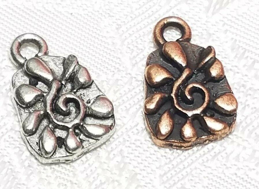 SPIRAL CENTER FLOWER FINE PEWTER PENDANT CHARM  - 9x15x2mm