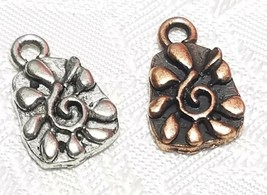 SPIRAL CENTER FLOWER FINE PEWTER PENDANT CHARM  - 9x15x2mm image 1