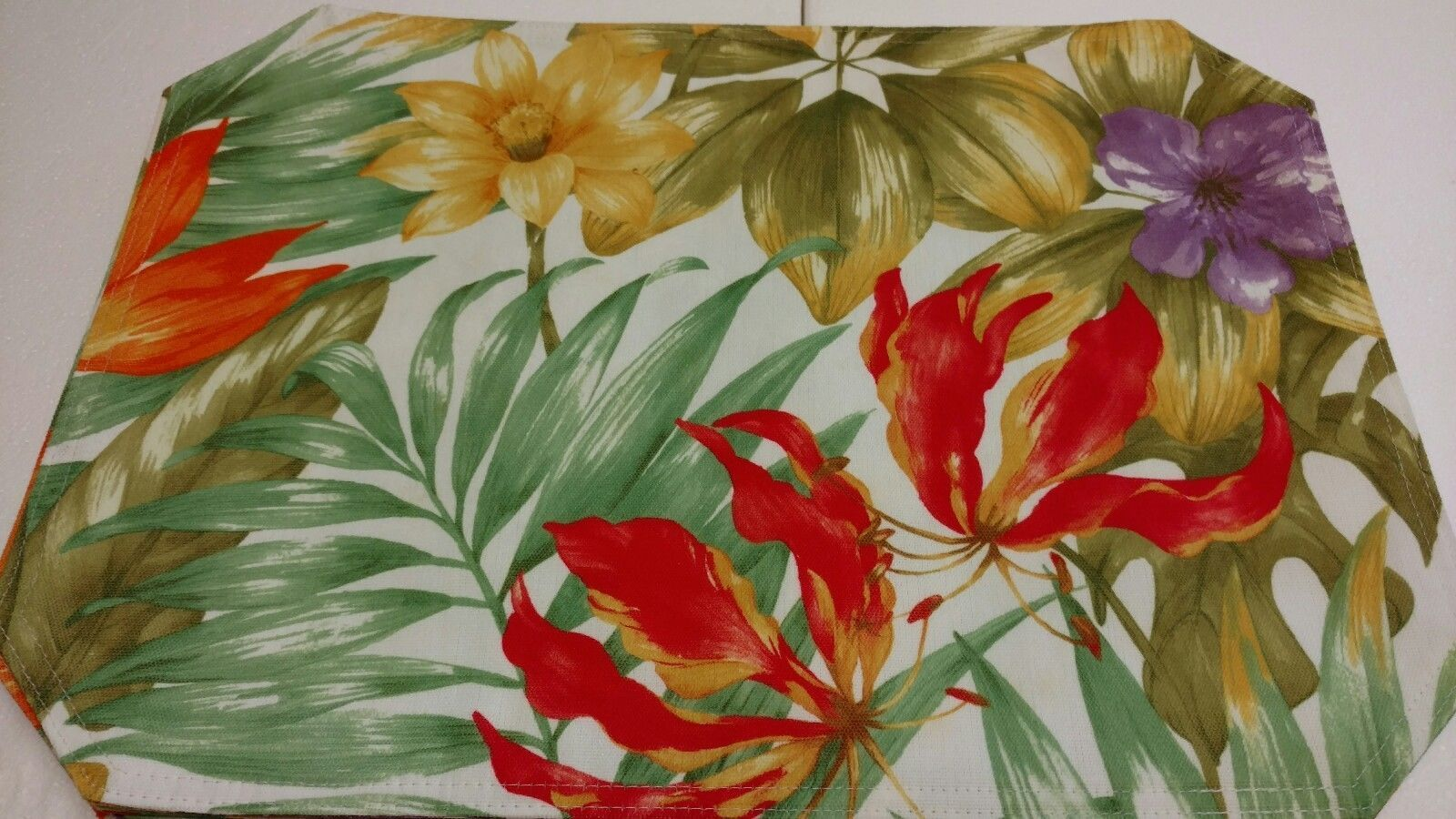 Primary image for 6 Gorgeous Tropical Table Placemats Bold Colorful 13x18 Double Sided Excellent
