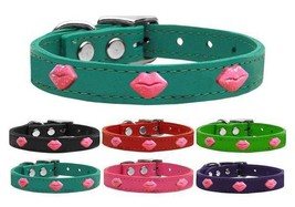 PINK GLITTER LIPS Genuine Leather Dog Collar * Valentines Day Kiss Smooc... - €14,05 EUR+