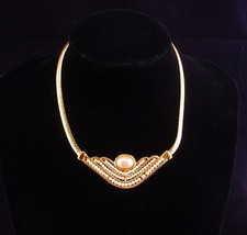 Vintage Napier necklace / hand beaded / gold choker / bridal necklace / ... - $165.00
