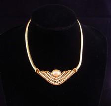 Vintage Napier necklace / hand beaded / gold choker / bridal necklace / ... - $165.00