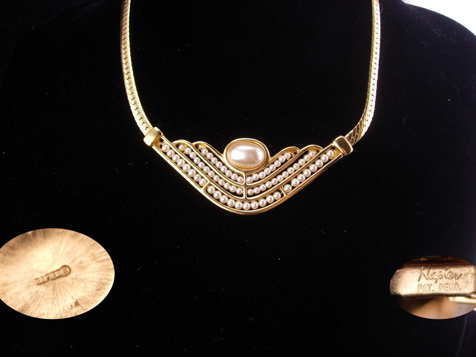 Vintage Napier necklace / hand beaded / gold choker / bridal necklace /  30th an
