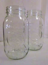 Two Golden Harvest Mason Quart Canning Jars Cornucopia - $9.99