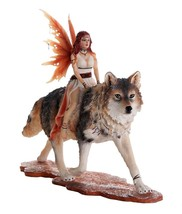 Decorative Companion Fairy Admina with Red Wolf Collectible Decorative S... - $59.99