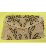 Micro Bead Small Evening Bag Purse Floral Design White Green Pink Yellow... - $50.00