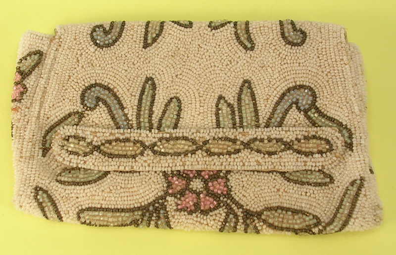 Micro Bead Small Evening Bag Purse Floral Design White Green Pink Yellow Brown