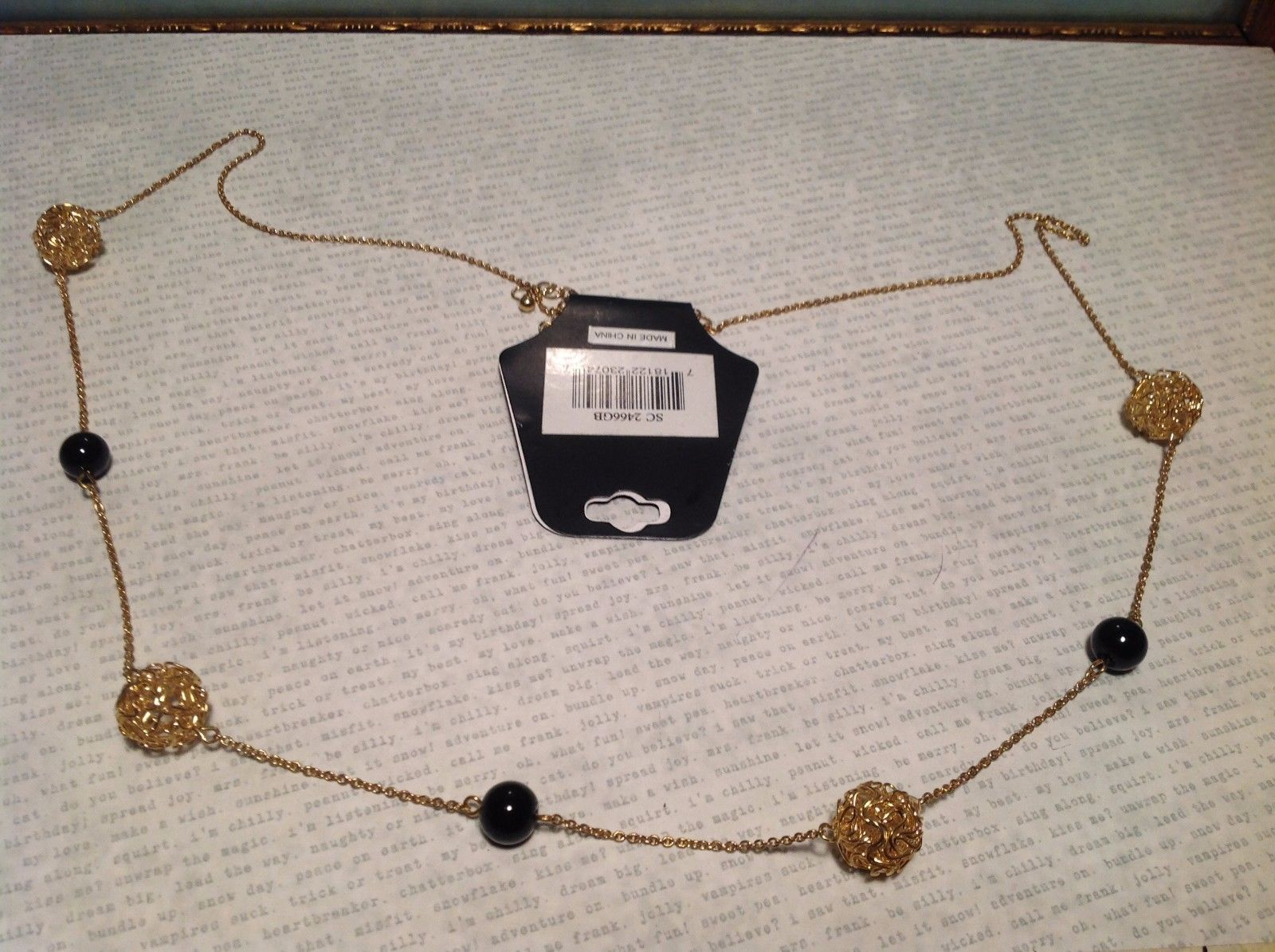 Goldtone Chain Necklace w Gold and Black Balls