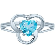 .55 tcw Heart Cut Natural Blue Topaz & Round Diamond Vintage Ring .925 S... - $29.00