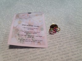 NEW Gold Tone Metal Flower and Pink Clear Crystals Angel Stud Pin