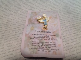 NEW Gold Tone Metal Teacher Angel Stud Pin w Blue and White Enamel