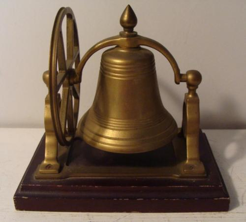 Vintage Brass Bell on Wood Mount Pulley Wheel Ship / School / Country Store