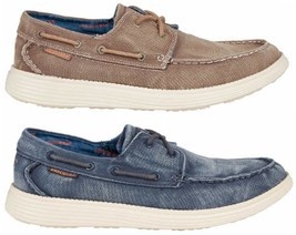 NEW Skechers MenCanvas Boat Shoe Vintage washed Blue & Brown  PK SIZE AN... - $39.99