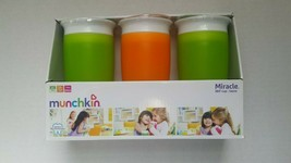 Munchkin 360 Cup Spill-proof 12+ Months NIB 2 GREEN & 1 ORANGE BRAND NEW - $22.04