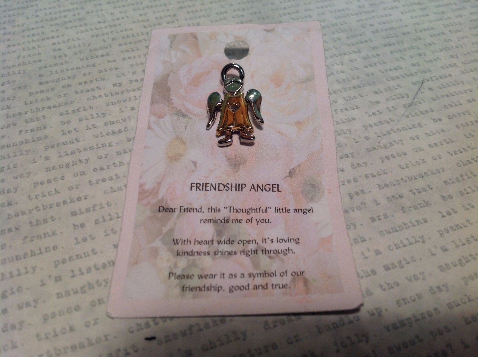 NEW Gold and Silver Tone Metal Friendship Angel Stud Pin