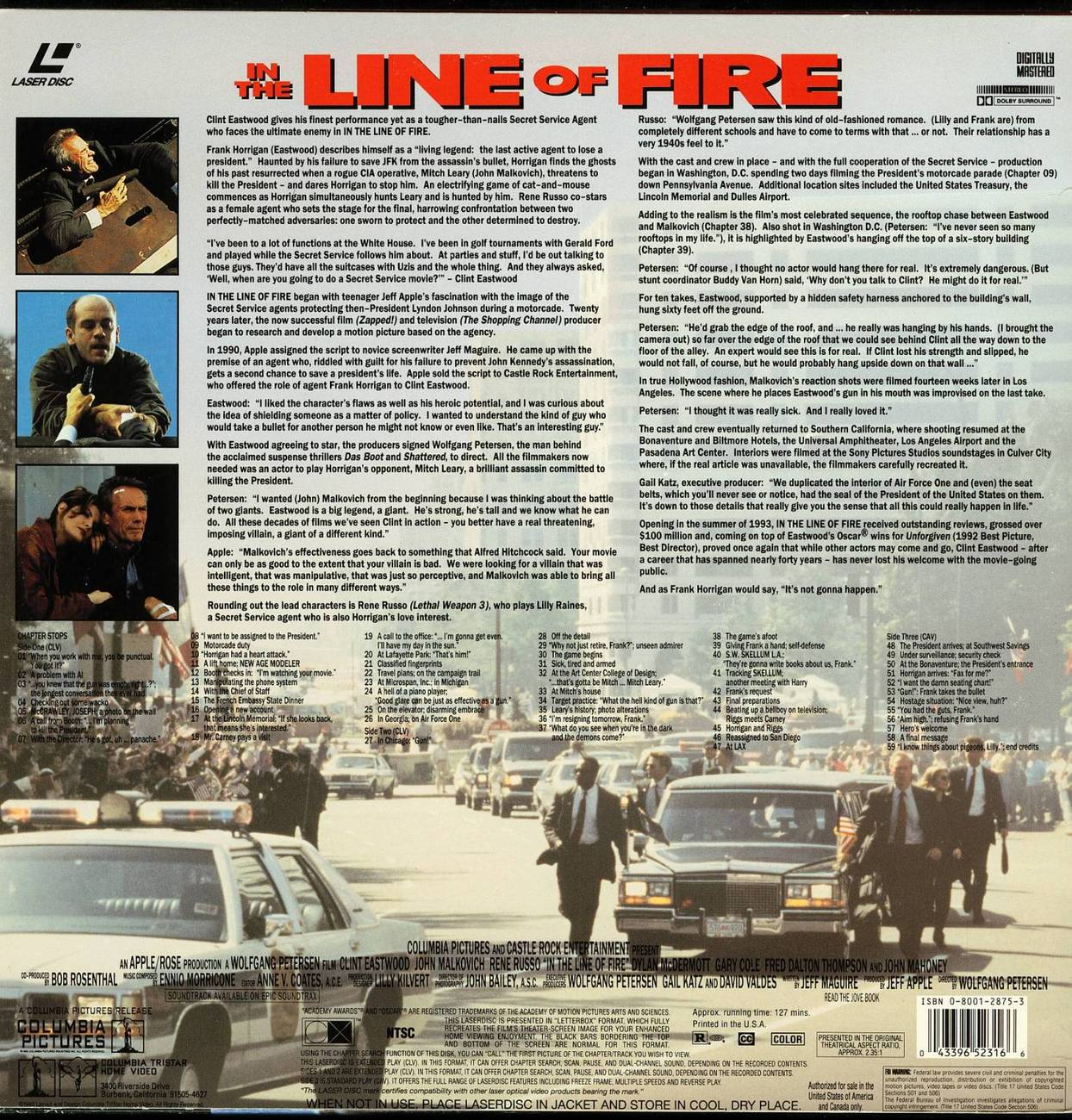 IN THE LINE OF FIRE RENE RUSSO LASERDISC RARE