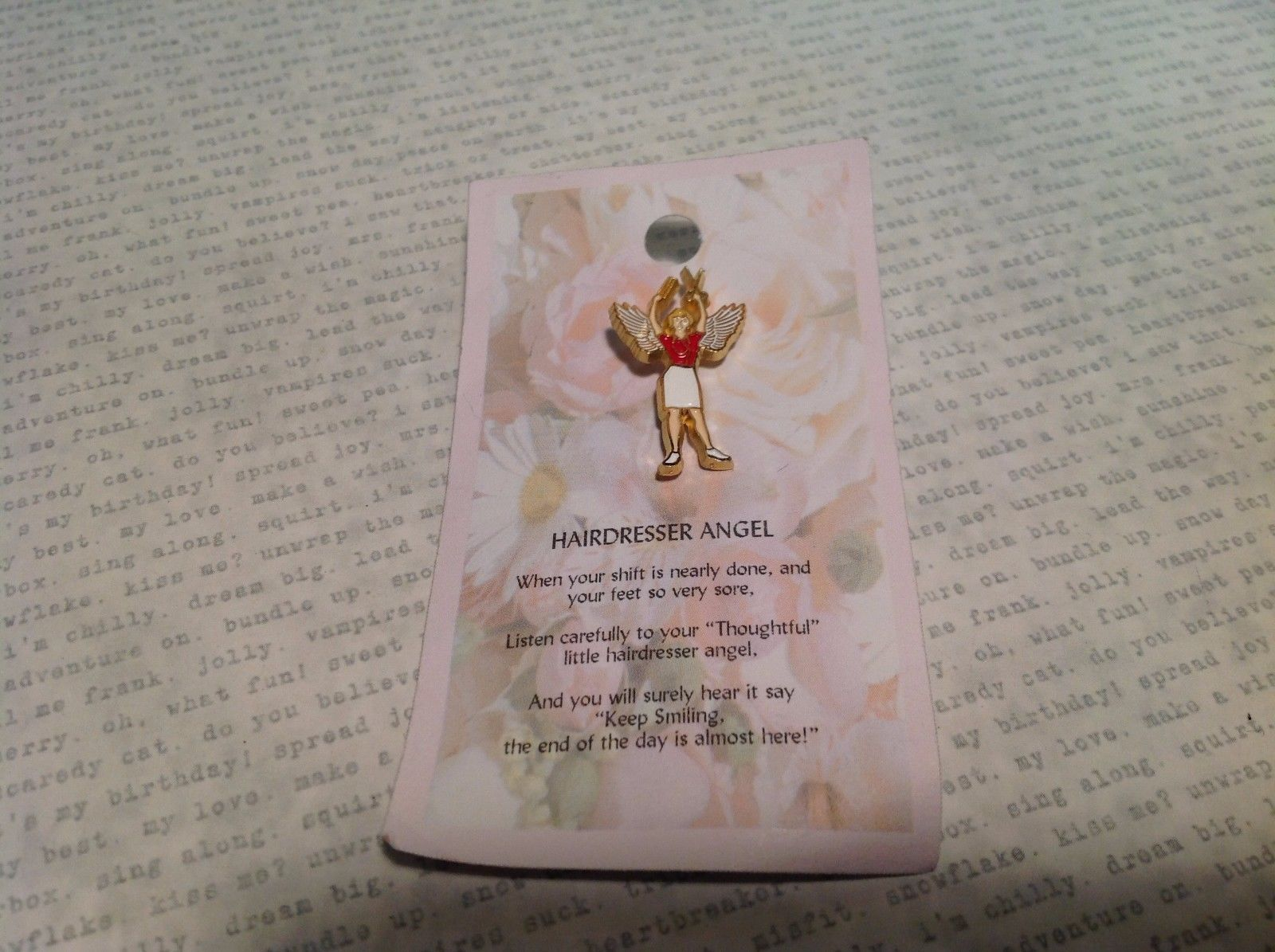 NEW Gold Tone Metal Hairdresser Angel Stud Pin w White and Red Enamel
