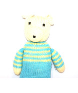 Lovely Knitted Teddy Bear in blue and yellow jump suit - $20.00
