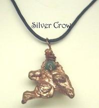 Copper Nugget Green Aventurine Black Cord Necklace - $14.99