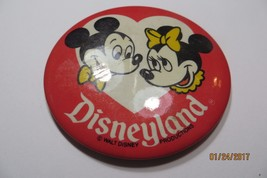 Disneyland Walt Disney Productions ORIGINAL Mickey & Minni Mouse pin BUTTON - $14.25