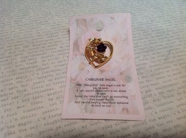 NEW Gold Tone Metal Caregiver Angel Stud Pin w Deep Purple Enamel Flower