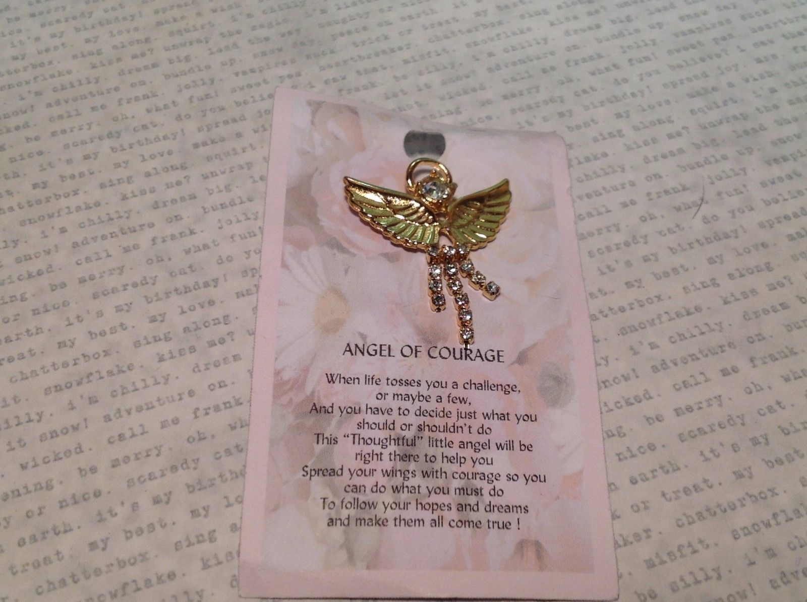 NEW Gold Tone Metal Angel of Courage Stud Pin w Wings