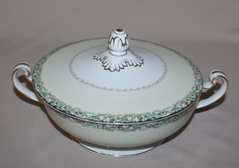 Round Covered Vegetable Bowl Noritake Mystery #14 White Rose Leafy Band Cream - $34.65