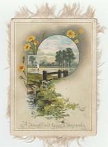 Vintage Christmas Card Lake Flowers Fringe Victorian Hildesheimer and Fa... - $14.84
