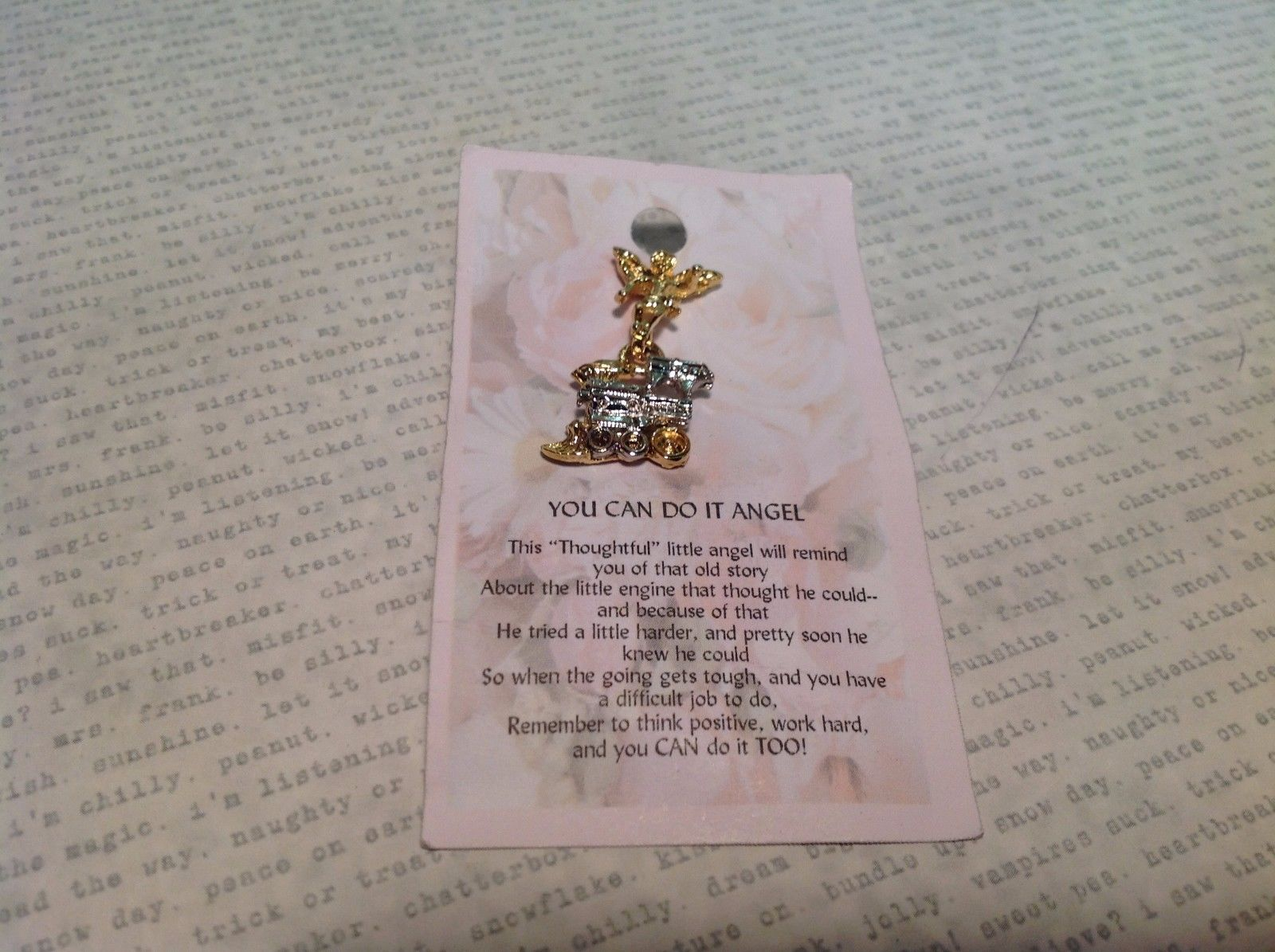 NEW Gold and Silver Tone You Can Do It Angel w Train Charm Stud Pin