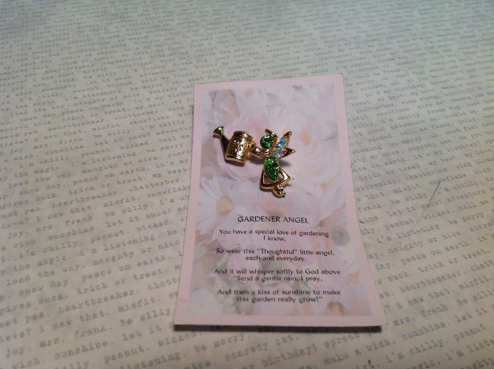 NEW Gold Tone Gardener Angel Stud Pin w Green and Aurora Crystals