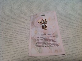 NEW Gold Tone I Believe Angel Stud Pin w Clear Crystals and White Enamel Cross