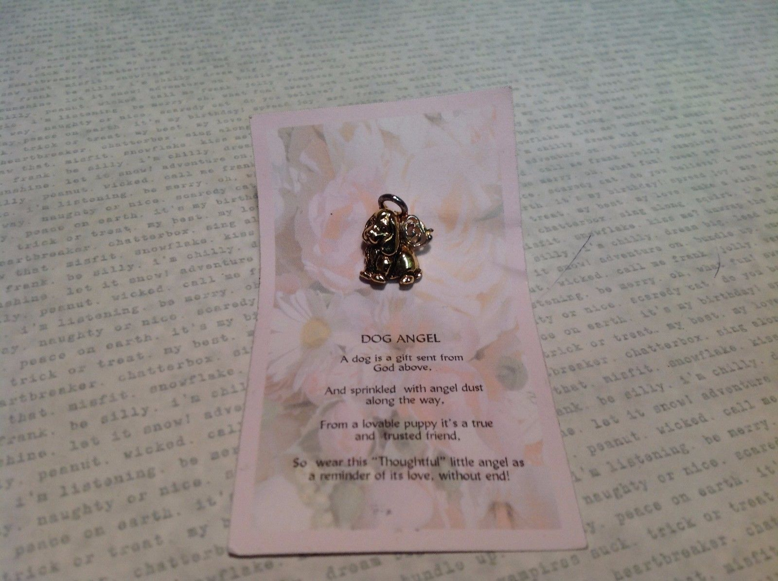NEW Gold Tone Dog Angel Pin w Wings